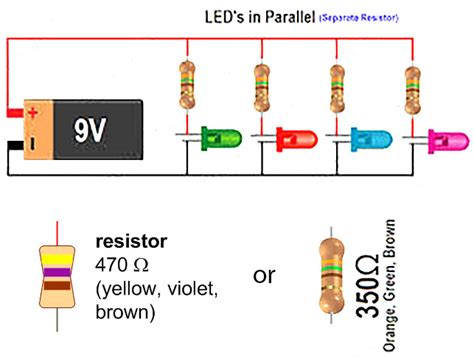 12v resistor to 9v simple led circuit with 9v battery eric j forman teaching