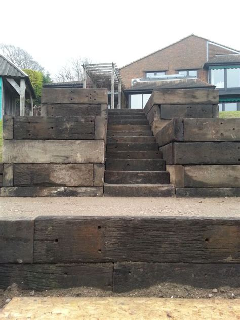 steps and walls from used jarrah railway sleepers