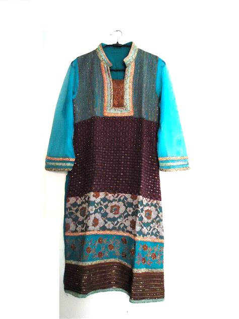Green Ethnic Dress vintage embroidered woven georgette kurti indian ethnic
