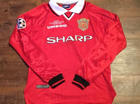 Retro Jersey Manchester United Ucl 99 global classic football shirts 1999 manchester united
