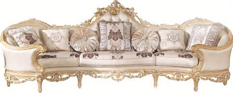 Luxury French Baroque Bright Color Living Room Sofa Set