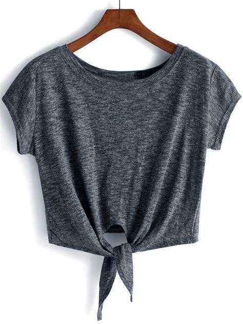 Crop Shirt cap sleeve knotted front crop t shirt shein sheinside