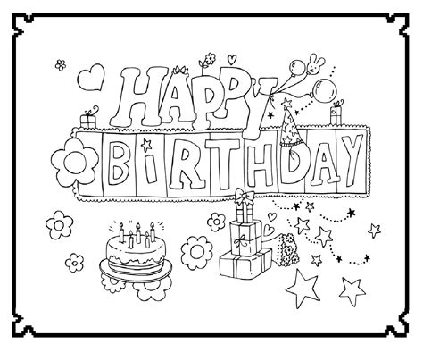 happy birthday feest kleurplaten wensjes