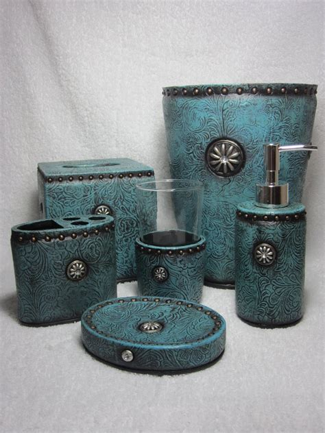 bling bathroom accessories western turquoise rhinestone