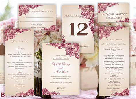 Printable Set Of Wedding Templates Invitation Rsvp Card Program Menu Table Number And Place Wedding Table Menu Template