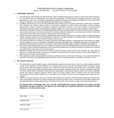 confidentiality and non compete agreement template 10 non compete agreement templates free sle exle