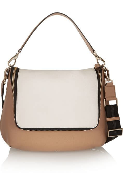 Anya Hindmarch Aretha Shoulder Bag by Anya Hindmarch Maxi Zip Two Tone Textured Leather Shoulder