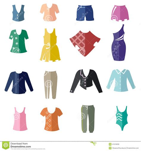different types of s clothing as bicolor flat icons