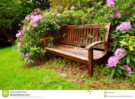 flower bench a bench with flowers stock image image 14634841