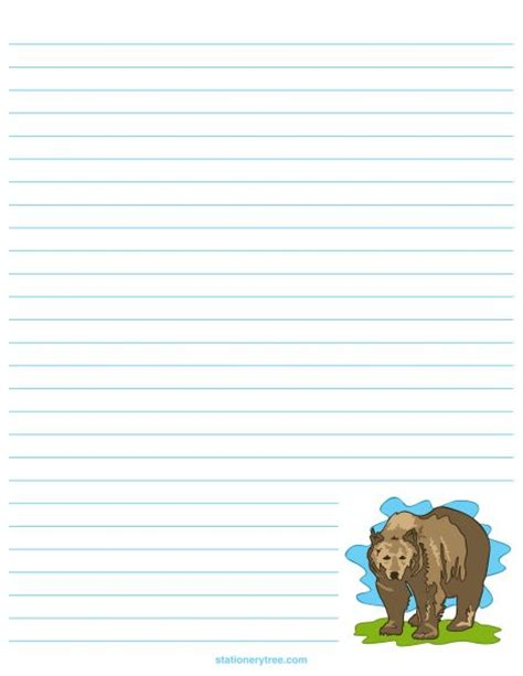 rainforest printable stationary printable bear stationery and writing paper free pdf