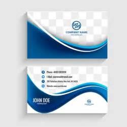 modern visiting card with blue waves vector free