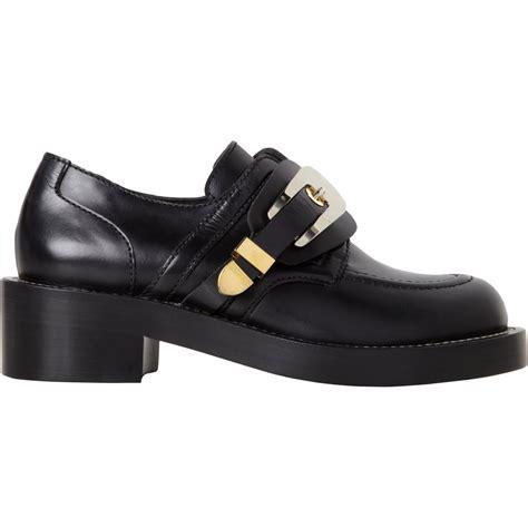 balenciagas shoes balenciaga derby buckle shoe in black gold lyst