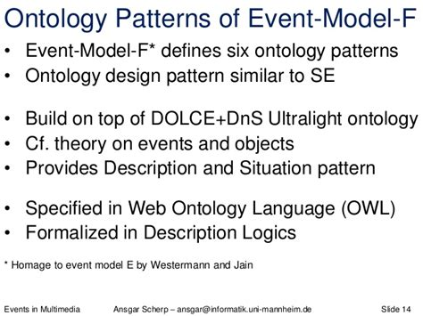Pattern Language Ontology | events in multimedia theory model application