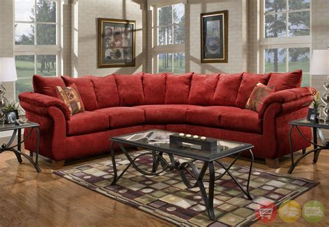 red sectional sensations red microfiber sectional sofa with loose pillow