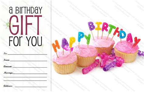 birthday gift card template celebration birthday gift certificate template