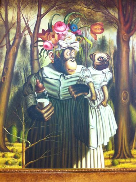 monkey and pug monkey feeding pug painting monkey