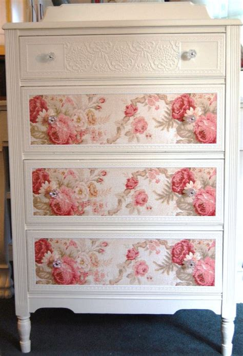 fabric decoupage dresser cottage chic dresser with roses by daniscustomdesigns she