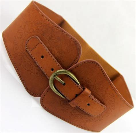 retro totem imitation leather pin buckle wide belt for