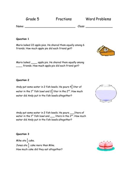 Fractions Grade 5 Worksheets by Word Problems For Grade 5 Worksheets Tutsstar Thousands
