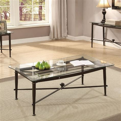 coaster glass top coffee table in antique bronze 720478