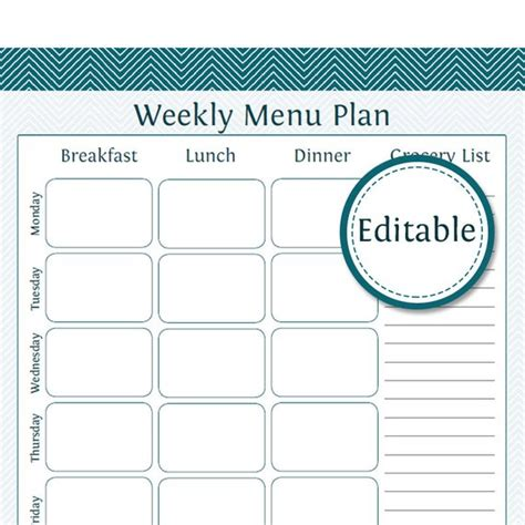 Weekly Menu Planner With Grocery List Fillable Printable Editable Meal Plan Template