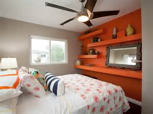 Orange bedroom for small home decor inspiration with grey and orange