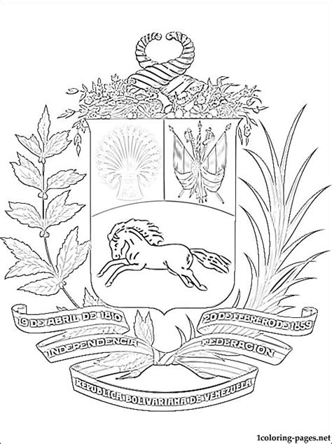 free coloring pages of venezuela coat of arms