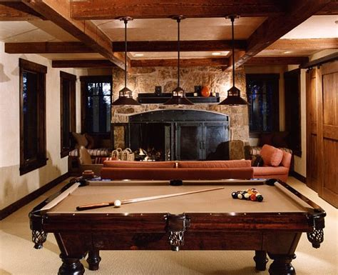 rustic rec room with pool table decoist - Rec Room Tables