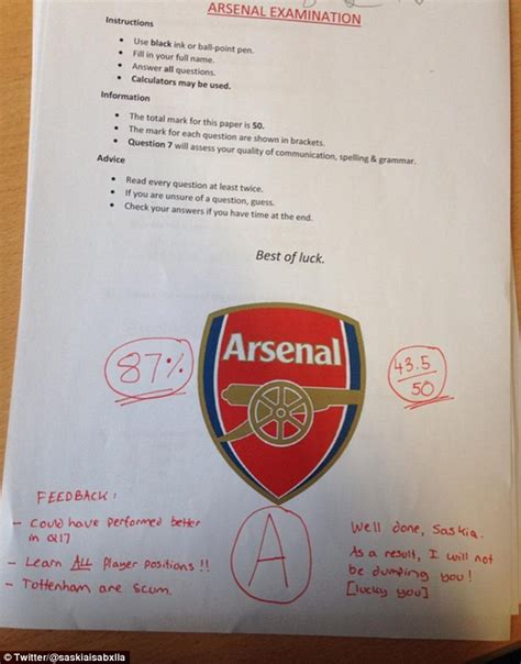 arsenal quiz arsenal fan makes girlfriend sit exam about his team so