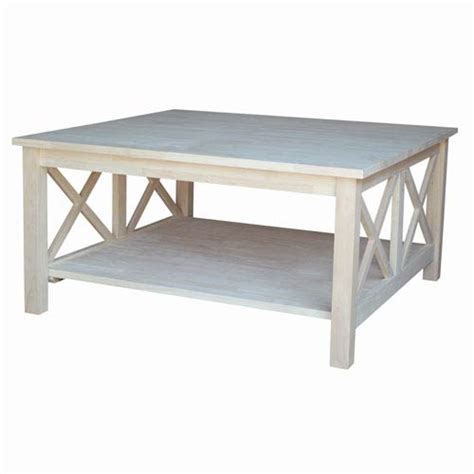 unfinished square coffee table international concepts occasional unfinished wood hton