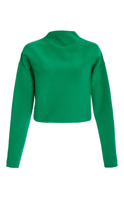 neck pullover tibi green mock neck pullover sweater in green lyst
