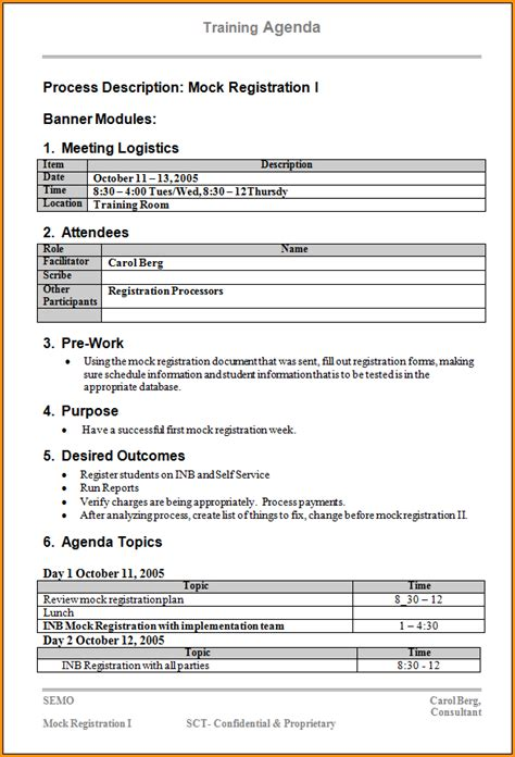 12 training agenda template loan application form