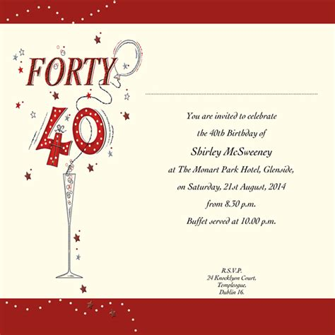 40th birthday invitation templates invitations 40th birthday invitation wording