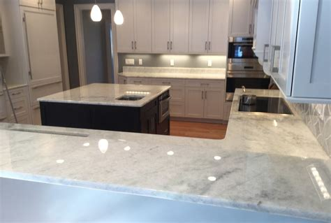 White Marble Countertop by This Home S White Marble Countertops Are Etch And Stain