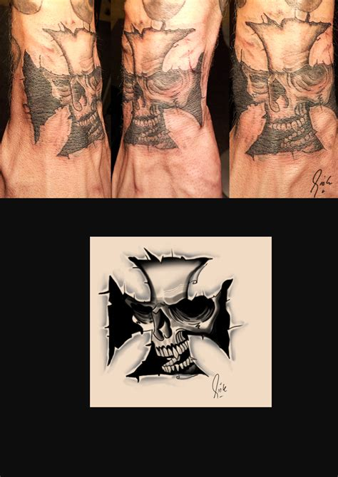 iron cross tattoos iron cross skull by rickzor1983 on deviantart