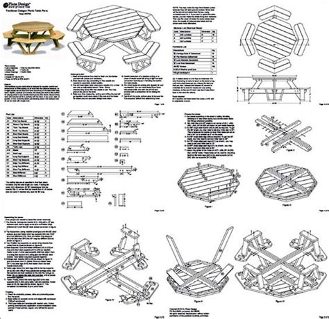 Picnic Table Pattern by Traditional Octagon Picnic Table Plans Pattern Odf05