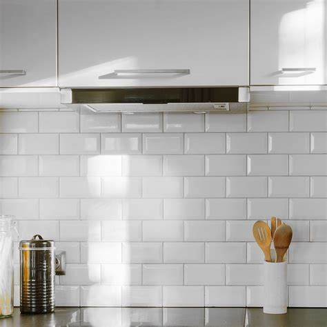 Wood Floor Ideas For Kitchens bevelled brick white gloss wall tiles retro metro tiles