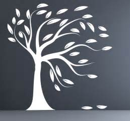 Tree Silhouette Wall Sticker White Tree Silhouette Wall Sticker Blowing Tree By