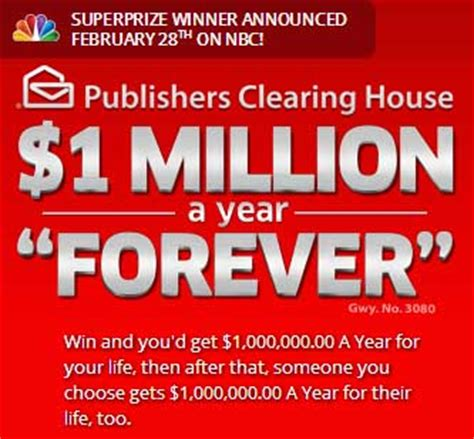 Publishers Clearing House Online Lottery - pch win 1 million a year forever sweepstakes sweeps maniac