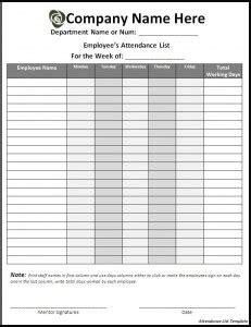 5 attendance list templates excel pdf formats