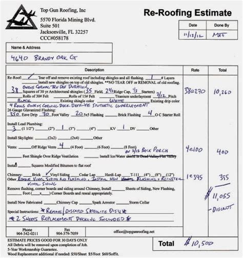 High Quality Roofing Estimates #10 Sample Roofing Estimate