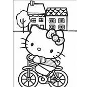 Hello Kitty Cycling Coloring Pages