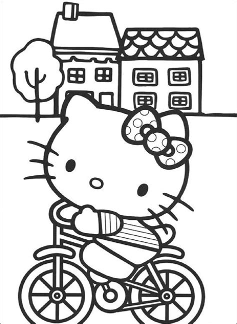 hello kitty coloring pages on coloring book info hello kitty cycling coloring pages coloring