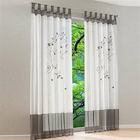 suche gardinen wohnzimmer souarts grau stickerei transparent gardine vorhang