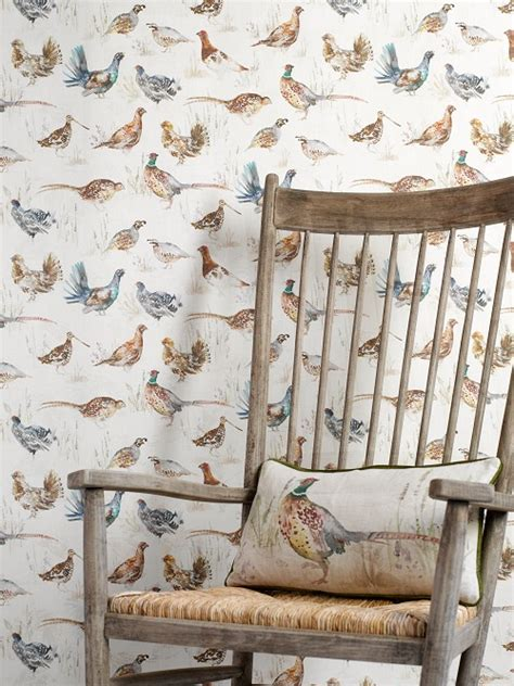 wallpaper with game birds gamebirds linen wallpaper