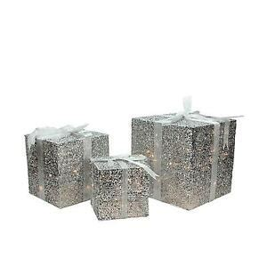 set of 3 lit gift boxes set of 3 lighted silver glitter gift box present yard 9 quot 12 quot 15 quot ebay