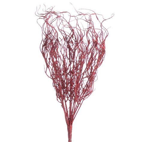 red glittered artificial twig spray picks and stems