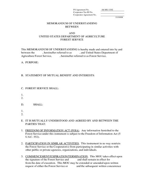 memorandum of understanding template word letter of understanding template free printable documents
