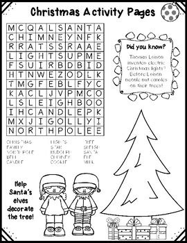 christmas activity forwork activity pages by busybeeingradethree tpt