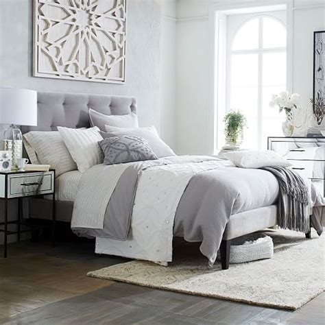 grey upholstered bed frame narrow leg upholstered bed frame dove gray west elm